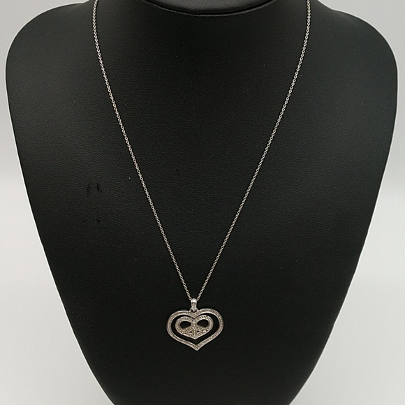 Jewelry - Heart Peace Sign Rhinestone Sterling Necklace